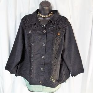 Joan Rivers XL Black Lace Panel Jacket